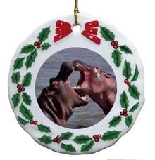 Hippo Porcelain Holly Wreath Christmas Ornament
