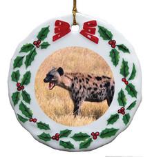 Hyena Porcelain Holly Wreath Christmas Ornament