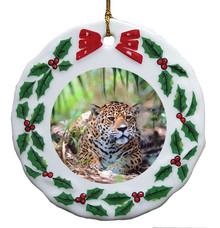 Jaguar Porcelain Holly Wreath Christmas Ornament
