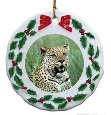Leopard Porcelain Holly Wreath Christmas Ornament