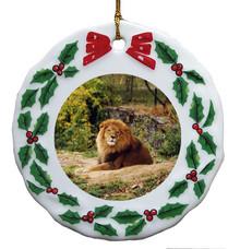 Lion Porcelain Holly Wreath Christmas Ornament
