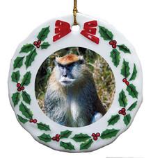 Monkey Porcelain Holly Wreath Christmas Ornament