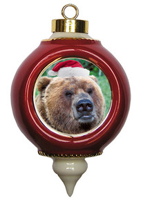Bear Ceramic Victorian Red and Gold Christmas Ornament