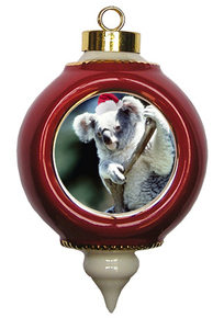 Koala Bear Ceramic Victorian Red and Gold Christmas Ornament