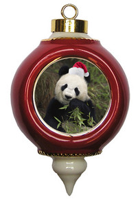 Panda Bear Ceramic Victorian Red and Gold Christmas Ornament