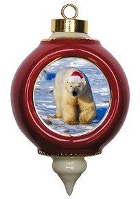 Polar Bear Ceramic Victorian Red and Gold Christmas Ornament