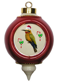 Bee Eater Victorian Red and Gold Christmas Ornament