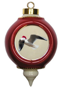 Black Headed Gull Victorian Red and Gold Christmas Ornament
