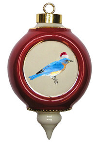 Bluebird Victorian Red and Gold Christmas Ornament