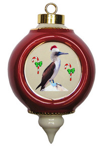 Blue Footed Booby Victorian Red and Gold Christmas Ornament