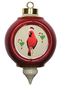 Cardinal Victorian Red and Gold Christmas Ornament