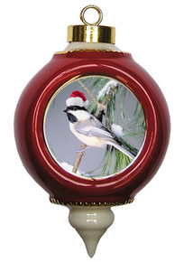Chickadee Victorian Red and Gold Christmas Ornament