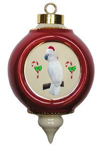 Cockatoo Victorian Red and Gold Christmas Ornament