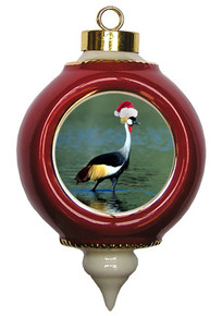 Crowned Crane Victorian Red and Gold Christmas Ornament