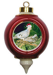 Dove Victorian Red and Gold Christmas Ornament