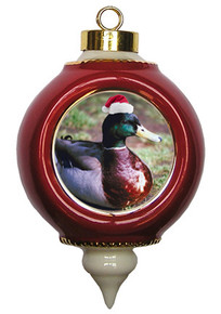 Duck Victorian Red and Gold Christmas Ornament