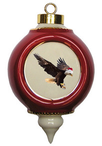 Eagle Victorian Red and Gold Christmas Ornament