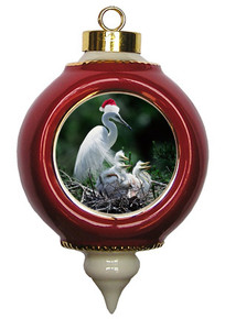 Egret Victorian Red and Gold Christmas Ornament
