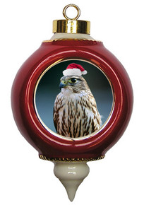 Falcon Victorian Red and Gold Christmas Ornament