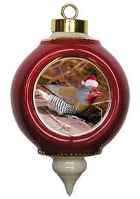 Finch Victorian Red and Gold Christmas Ornament