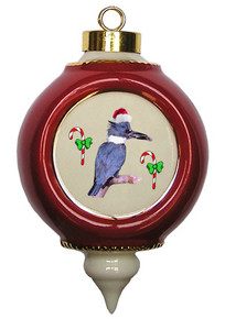 Belted Kingfisher Victorian Red and Gold Christmas Ornament