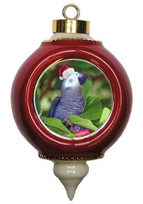 African Grey Parrot Victorian Red and Gold Christmas Ornament