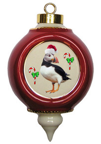 Atlantic Puffin Victorian Red and Gold Christmas Ornament