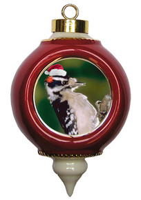 Downey Woodpecker Victorian Red and Gold Christmas Ornament