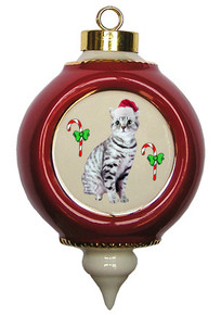 American Shorthair Cat Victorian Red & Gold Christmas Ornament