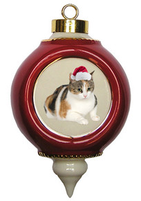 Calico Cat Victorian Red & Gold Christmas Ornament
