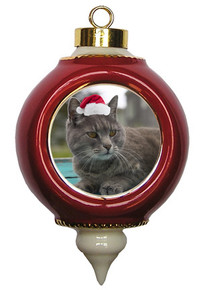 Cat Victorian Red & Gold Christmas Ornament