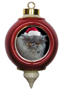 Persian Cat Victorian Red & Gold Christmas Ornament