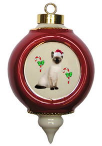 Siamese Cat Victorian Red & Gold Christmas Ornament