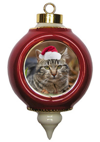 Tabby Cat Victorian Red & Gold Christmas Ornament
