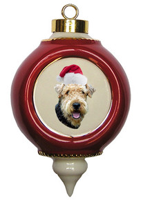 Airedale Victorian Red & Gold Christmas Ornament