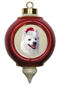American Eskimo Dog Victorian Red & Gold Christmas Ornament