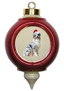 Australian Shepherd Victorian Red & Gold Christmas Ornament
