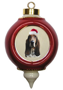 Basset Hound Victorian Red & Gold Christmas Ornament