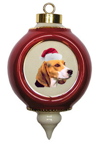 Beagle Victorian Red & Gold Christmas Ornament