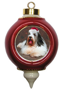 Bearded Collie Victorian Red & Gold Christmas Ornament