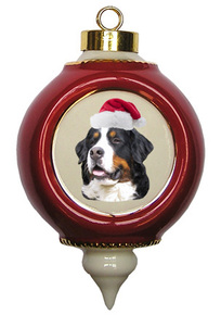 Bernese Mountain Dog Victorian Red & Gold Christmas Ornament