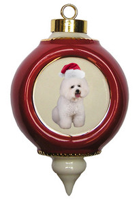 Bichon Victorian Red & Gold Christmas Ornament