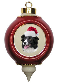 Border Collie Victorian Red & Gold Christmas Ornament