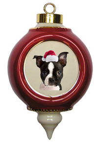 Boston Terrier Victorian Red & Gold Christmas Ornament