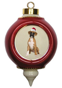 Boxer Victorian Red & Gold Christmas Ornament