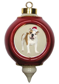 Bulldog Victorian Red & Gold Christmas Ornament
