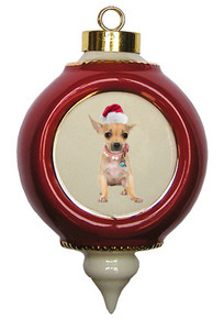Chihuahua Victorian Red & Gold Christmas Ornament