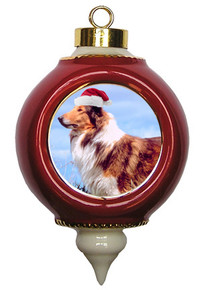 Collie Victorian Red & Gold Christmas Ornament