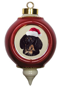 Dachshund Victorian Red & Gold Christmas Ornament