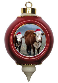 Cow Victorian Red and Gold Christmas Ornament